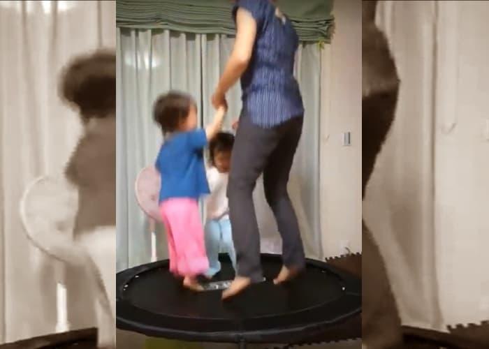 大きいサイズのトランポリンで大人と一緒に遊ぶ